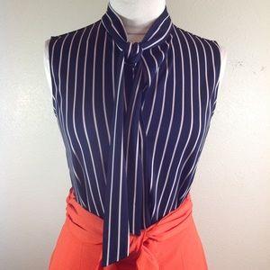 Ann Taylor stripe navy blouse size S